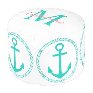 Crisp White and Island Sea Anchor Monogram Pouf