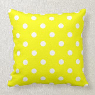 Crisp White Polka Dots on Sunshine Yellow Throw Pillow