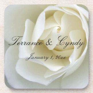 Crisp White Rose Drink Coasters