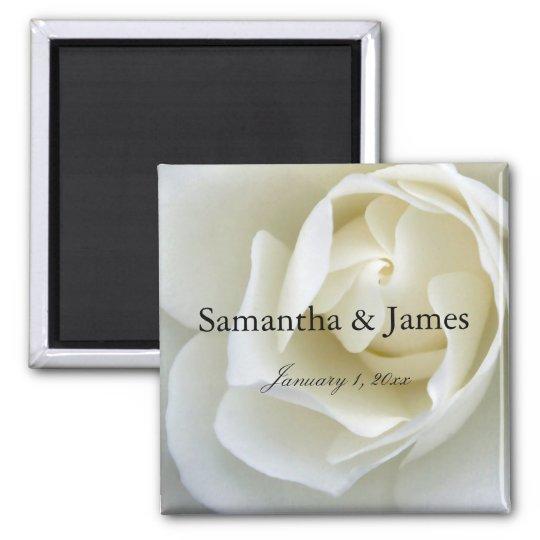 Crisp White Rose Magnet