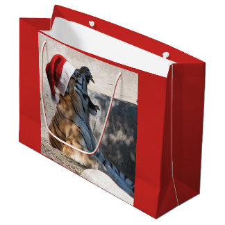 Cristmas Tiger with a Santa Claus Hat on Large Gift Bag