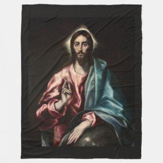 Cristo Salvator Mundi ~1600 El Greco Fleece Blanket