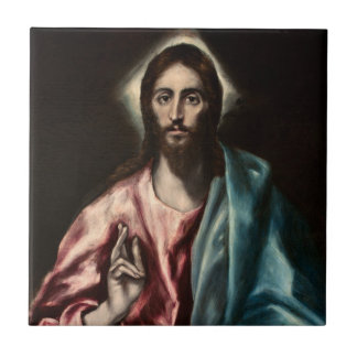 Cristo Salvator Mundi ~1600 El Greco Tile