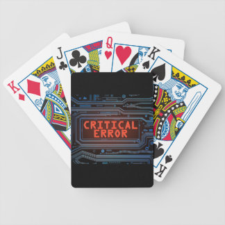 Critical error concept. bicycle playing cards
