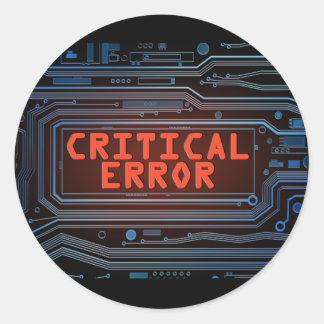Critical error concept. classic round sticker