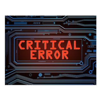 Critical error concept. postcard