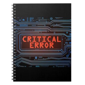 Critical error concept. spiral note books