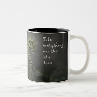 Critically Endangered Amur Leopard Cub with quote Two-Tone Coffee Mug