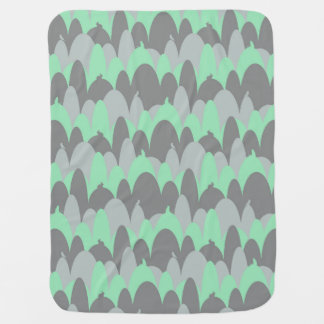 Critters in the Hills in Green Baby Blanket