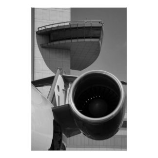 CRJ JFK Tower B&W Poster