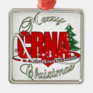 CRNA MERRY CHRISTMAS Nurse Anesthetist Metal Ornament