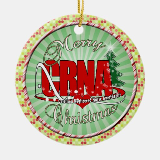 CRNA MERRY CHRISTMAS Nurse Anesthetist Christmas Ornament