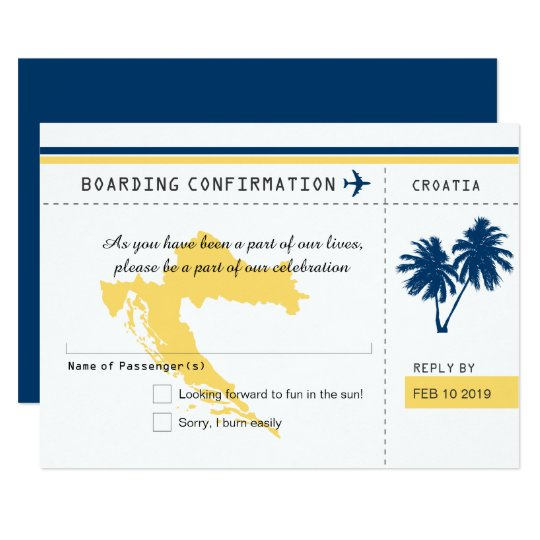 Croatia Boarding Pass RSVP Blue and Yellow Wedding Card