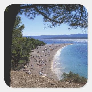 Croatia, Brac Island, Bol, Golden Cape Beach Square Sticker