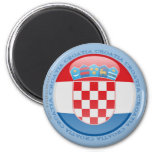 Croatia Bubble Flag 2 Inch Round Magnet