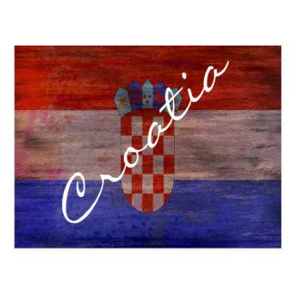 Croatia distressed flag postcard