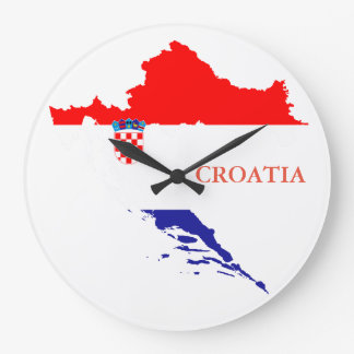 Croatia flag and map large clock