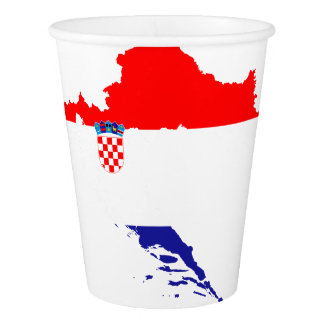 Croatia flag and map paper cup