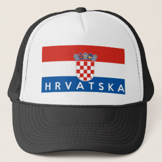 croatia flag country hrvatska text name trucker hat