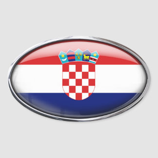 Croatia Flag Glass Oval Oval Sticker