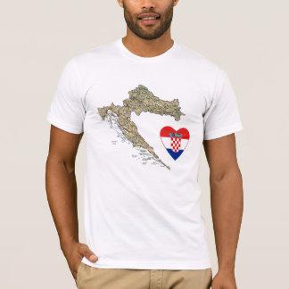 Croatia Flag Heart and Map T-Shirt