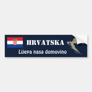 Croatia Flag + Map Bumper Sticker