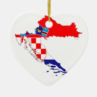 Croatia Flag Map Ceramic Ornament
