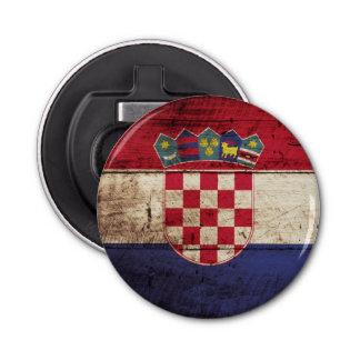Croatia Flag on Old Wood Grain Bottle Opener