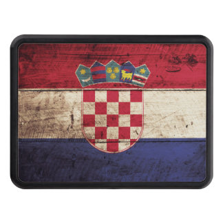 Croatia Flag on Old Wood Grain Trailer Hitch Cover