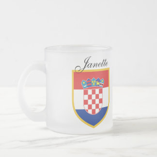 Croatia Flag Personalized Frosted Glass Coffee Mug