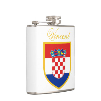 Croatia Flag Personalized Hip Flask
