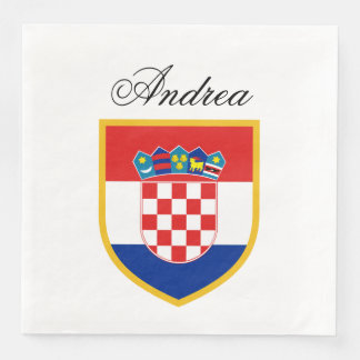 Croatia Flag Personalized Paper Dinner Napkin