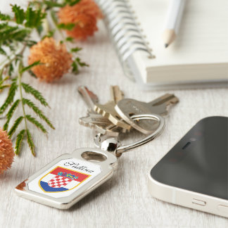 Croatia Flag Personalized Silver-Colored Rectangle Keychain