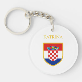 Croatia Flag Personalized Single-Sided Round Acrylic Keychain