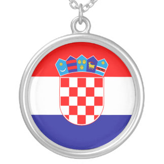 Croatia Flag Silver Plated Necklace