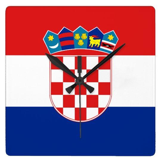 Croatia Flag Square Wall Clock