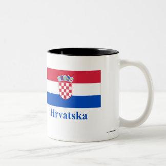 Croatia Flag with Name in Croatian Two-Tone Coffee Mug
