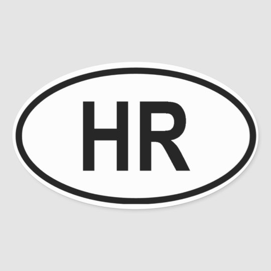 "Croatia ""HR"" Oval Sticker"