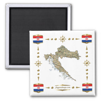 Croatia Map + Flags Magnet