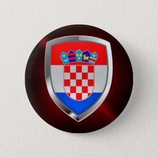 Croatia Metallic Emblem 2 Inch Round Button