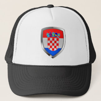 Croatia Metallic Emblem Trucker Hat