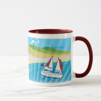 "Croatia Mug Land to Sea {red ""ringer""} 11 oz"