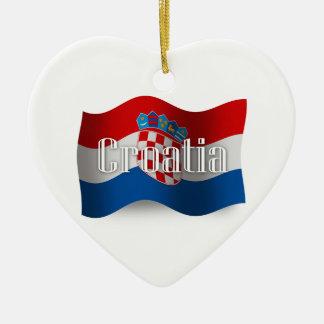 Croatia Waving Flag Ceramic Ornament