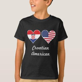 Croatian American Flag Hearts T-Shirt