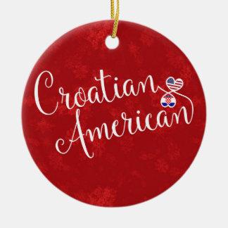 Croatian American Hearts Christmas Tree Ornament