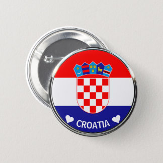 Croatian Coat of Arms | Hrvatski grb w/Text 2 Inch Round Button