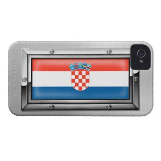 Croatian Flag in a Steel Frame iPhone 4 Covers