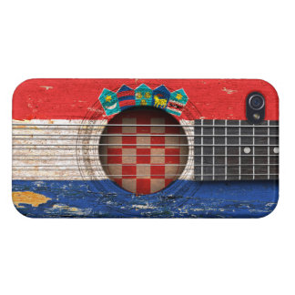 Croatian Flag on Old Acoustic Guitar Cover For iPhone 4