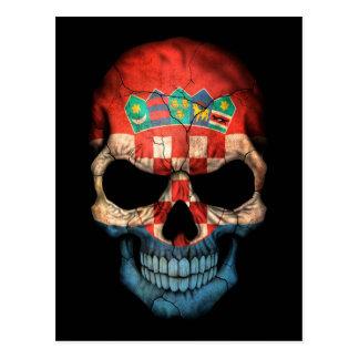Croatian Flag Skull on Black Postcard