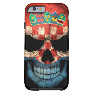 Croatian Flag Skull on Black Tough iPhone 6 Case